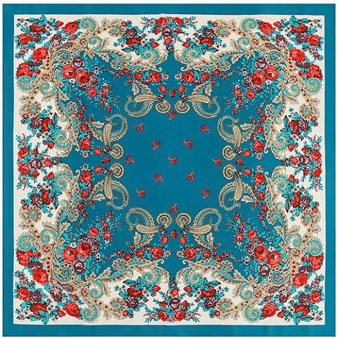 YDMZMS 100% Zijde Sjaal Vrouwen Vierkante Sjaals Wraps Retro Cashew Neckerchief Vrouwelijke Zijde Hijab Lady Lake Blauw