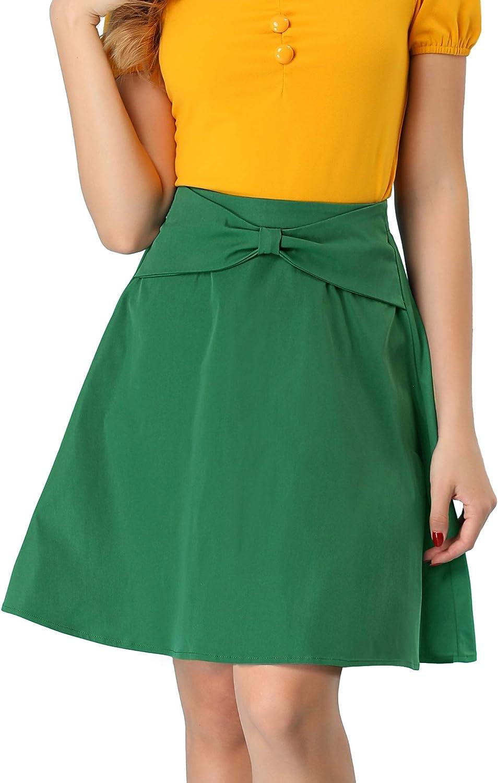 Allegra K Women's Work A-Line High Waist Above Knee Casual Mini Bow Skirt