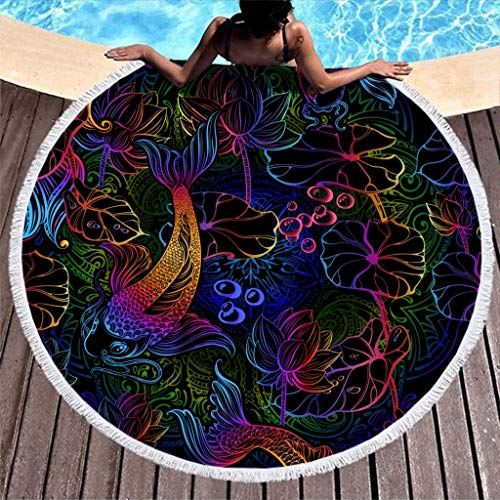 AEMAPE Koi Carp Lotus Toalla de Playa Manta de Playa de Microfibra Redonda Grande con borlas Manta de Picnic Manta de Playa Tapiz de Tela de Mesa Colorido 59 Pulgadas