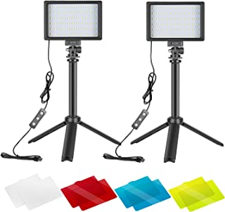 Neewer 2 Packs Portable Photography Lighting Kit Dimmable 5600K USB 66 LED Video Light with Mini Adjustable Tripod Stand a...
