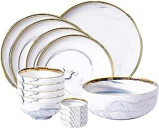 Dinner Plates مجموعة أواني المطبخ 14 قطعة مجموعة من الذهب حافة اللوحة الرخامية (لوحة عميقة، لوحة ضحلة) أنيقة لوحات سيراميك...