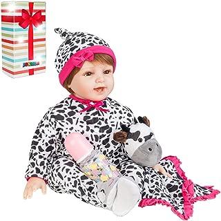 JOYMOR 22 Inch Reborn Baby Doll Birthday Gift Vivid Real Looking Dolls Silicone Vinyl Lifelike Realistic Child Growth Partner Xmas Present Washable Soft Body Lovely Simulation Fashion