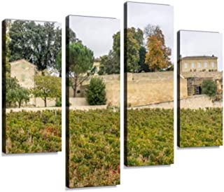 Autumn Sunset on Vineyards Around Saint Emilion with Hills Grapes and Canvas Wall Art Hanging Paintings Modern Artwork Abstract Picture Prints Home Decoration Gift Unique Designed Framed 4 Panel