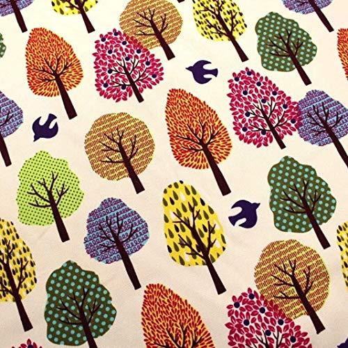 1 retales de tela de algodón egipcio (48 cm x 58 cm) - árboles multicolor   100% tela de lona de algodón egipcio para tapicería de árboles de morera