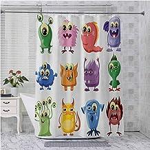 Juego de cortina de ducha, diseño animado de bacterias, alienígenas, gérmenes, dibujos animados, monstruos, humor y caras,...
