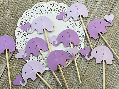 Lavender and Lilac Purple Elephants holding hearts Cupcake Toppers - NEW 1' x 1.5' Larger Size - Baby Girl Shower - (Set of 24)