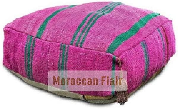 Moroccan Flair Kilim Pouf Pink Unstuffed
