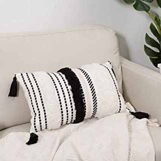 blue page Morocco Tufted Boho Throw Pillow Covers 12X20 Inch - Lumbar Small Decorative Cushion Cover for Couch Sofa Bedroom Living Room, Rectangle Accent Pillow Case ONLY (Black Off White)