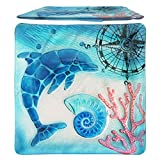 Comfy Hour Under The Sea Collection 12' Decorative Ocean Coastal Dolphin Sea Snail Conch Coral Marin Compass Square Glass Plate, Dishwasher Safe, Blue