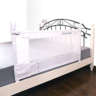 Kooldoo ベッドフェンス ベッドガード 垂直設計 110cm ホワイト 安全ベルト1本付き ベビーやお年寄りがベッドからの転倒を防ぐ