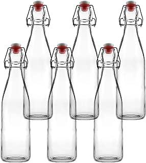 Tebery 6 Pack Clear Swing Top Glass Bottles 16oz Leak Proof Easy Caps Bottle Flip Top Brewing BottlesFor Kombucha, Kefir, Beer