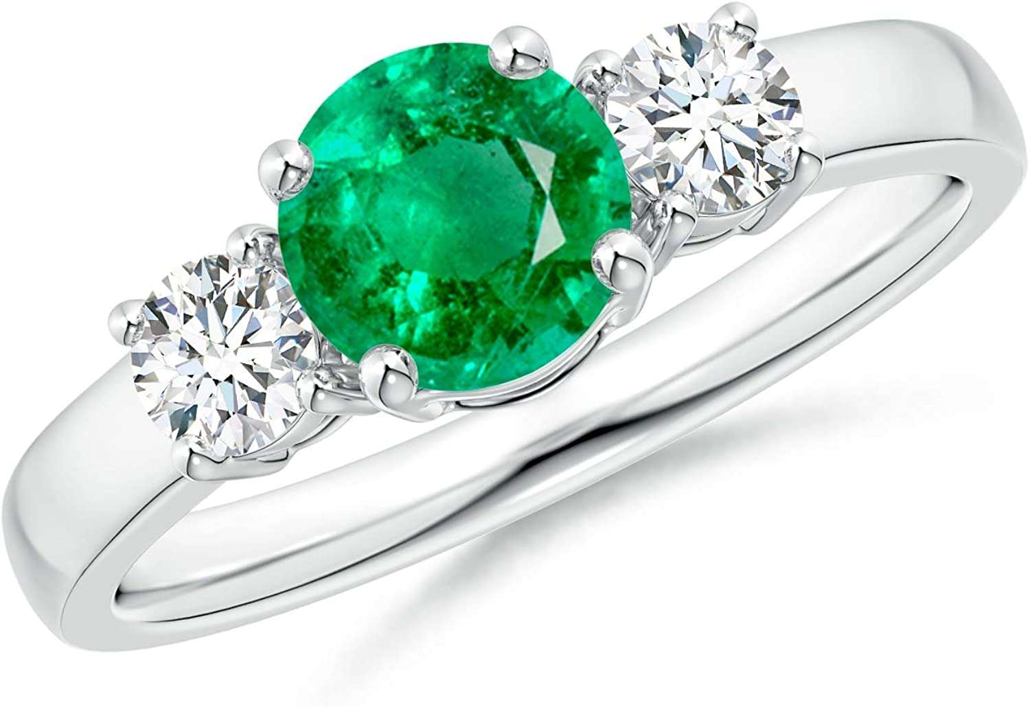 Classic Emerald and Diamond Three Max 78% OFF Engagement 70% OFF Outlet Stone Ring Eme 6mm