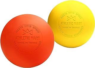 ATHLETIC MART マッサージボール 2個 [収納袋つき] ラクロスボール 公式試合球 ストレッチボール 筋膜リリース 肩 首 腰 太もも ふくらはぎ 足裏ツボ押し トリガーポイント オレンジ×イエロー オレンジ×ホワイト