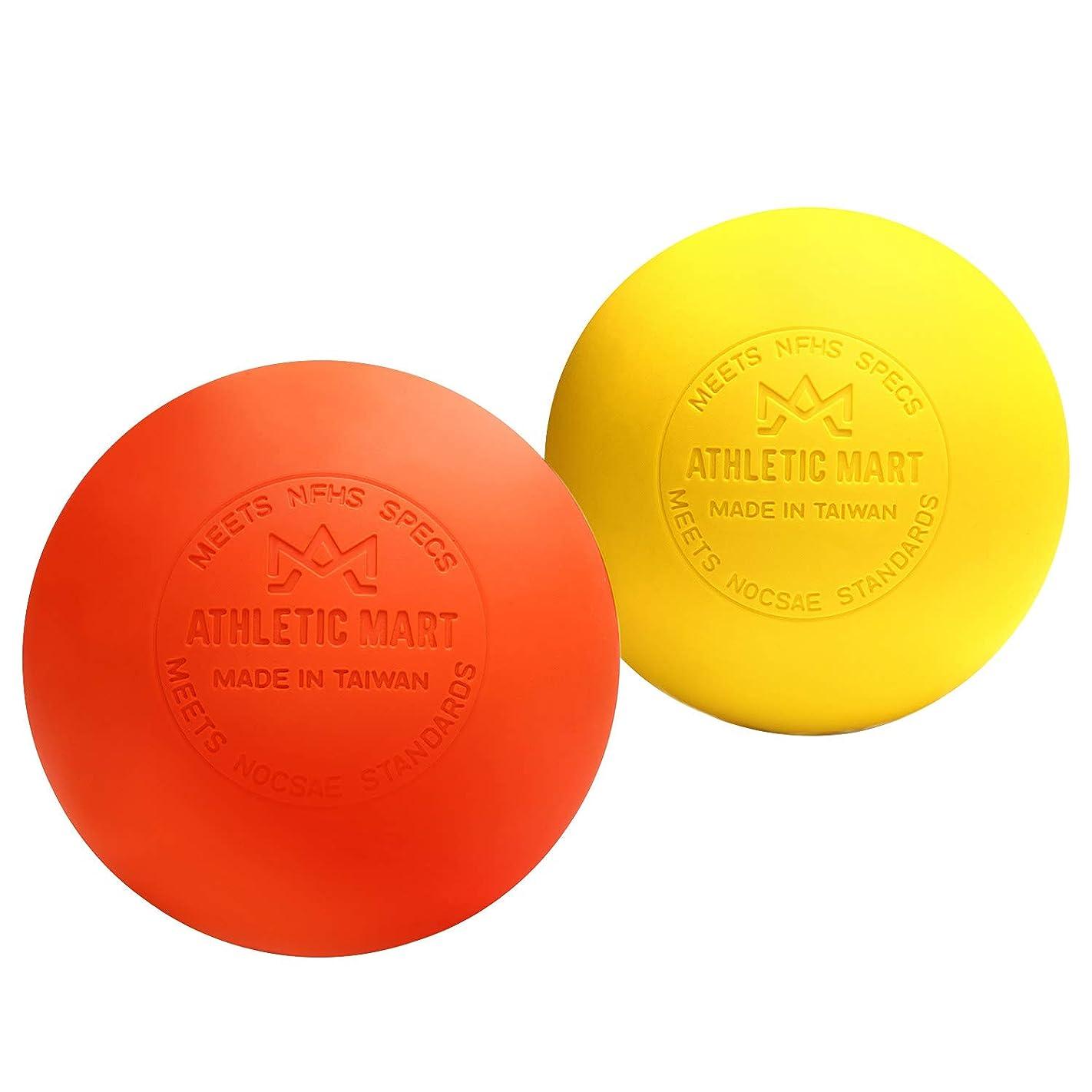 ぼんやりした王子ラフレシアアルノルディATHLETIC MART マッサージボール 2個セット ラクロスボール ストレッチボール トリガーポイント 筋膜リリース 首?腰?太もも?ふくらはぎ?足裏ツボ押し オレンジ×イエロー