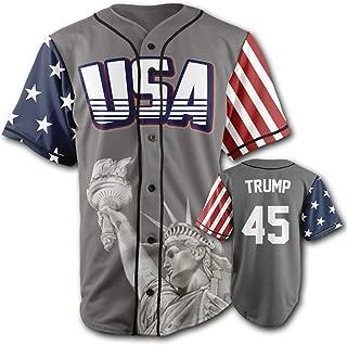 Greater Half Custom Baseball Jersey Button Down USA Grey Trump #45 (Small-4XL)