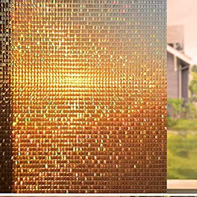 Coavas Decorative Rainbow Window Film Privacy Refraction Privacy Film Non-Adhesive Glass-Film 3D Static Cling Window Film (Brown, 17 by 78.7 Inches) …