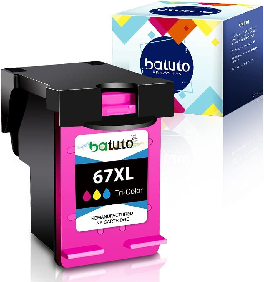 batuto Remanufactured Inkjet for HP 67 3YM59A 3YM58A Replacement for HP Envy 6052 6055 Pro 6452 6455 6458 DeskJet 1255 2732 2752 2755 DeskJet Plus 4140 4152 4155 4158 (1 Tri-Color)