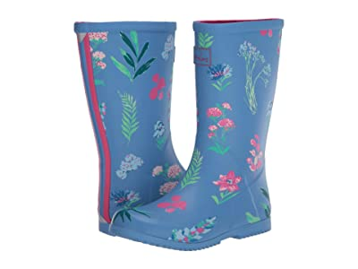 Joules Kids Roll Up Welly (Toddler/Little Kid/Big Kid) (Blue Botanical) Girl