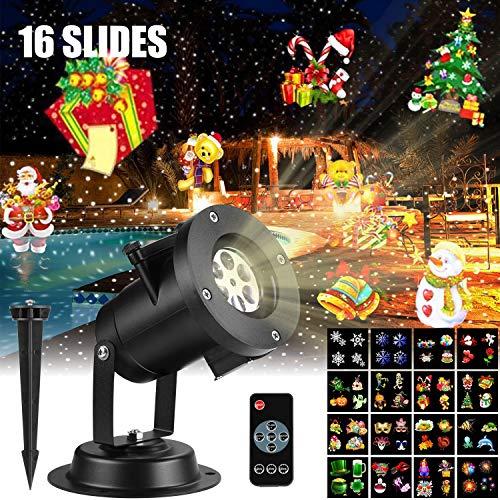 amigo-fly Luces Proyector, LED Luz de Proyección con 16 Diapositivas 4 niveles de velocidad, Lámpara Proyección Impermeable IP65 para Navidad Halloween Día de San Valentín Cumpleaños Boda Fiestas
