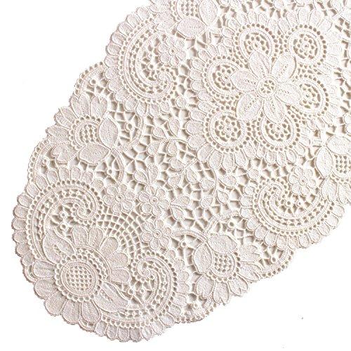 Plauener Spitze by Modespitze 10276_ e tovaglia Ovale 3060Tosca, 30x 60cm, Colore: Crema