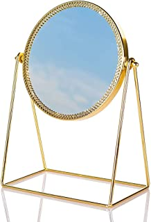 YXZQ Makeup Mirror, Double-Side Vanity Mirror Vintage 360° Rotation Metal Table Mirror Round Cosmetic Mirror Make Up Mirror for Dresser Vanity Table Desk