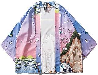 New Japanese Street Fashion Loose Seven-quarter Sleeve Kimono Robe Coat Hyococ (Color : Color, Size : XXL)