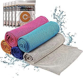 CAMPFOLKS Lot de 5 serviettes de sport rafraîchissantes en microfibre pour le sport et le fitness - Séchage rapide - 30 x 100 cm