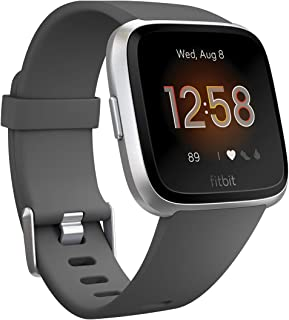 Fitbit Versa Lite Smartwatch, Charcoal/silver Aluminum, One Size, 0.09 Pound