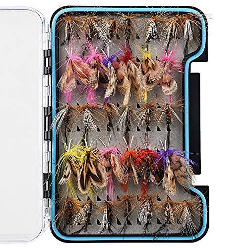 HXC 32 señuelos de pesca con mariposas realistas con ganchos afilados para pesca con mosca y mosca seca con caja impermeable para pesca de truchas de colores mezclados
