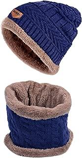 Unisex Winter Hat Neck Style Scarfs Set Warm Skull Cap for Men