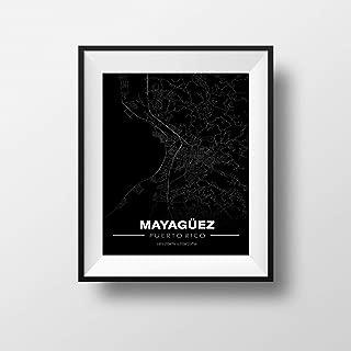 Mayaguez, Puerto Rico Minimalistic Map - Poster Print Artwork - Professional Wall Art Merchandise - Coordinates, Black and White