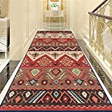 Aabbcdf Tappeto da Corridoio Vintage, Corridore Lungo da Pavimento in Stile Etnico, Corridori in Moquette Lavabili, Adatto per Scale/Corridoi/Hotel/Soggiorno,80x300cm