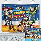 Toy Story - Fondo de pared de cumpleaños para niños, fiesta de cumpleaños, decoración de mesa para decoración de mesa, telones de fondo para baby shower, cielo azul para interiores (1,8 x 1,2 m)
