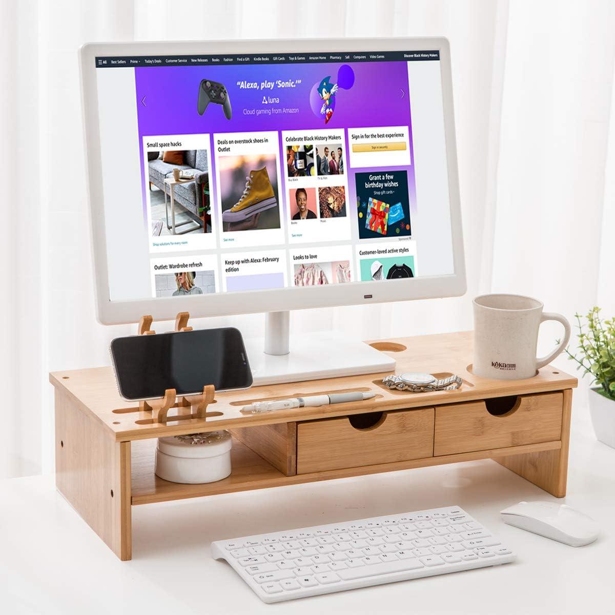 Maydear Bamboo Monitor Stand Riser with 4 Storage Drawer, 2 Tier Desk Organizer Stand for Laptop Computer, Desktop Printer Stand, Versatile as Storage Shelf & Screen Holder (21.25