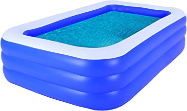 Family Inflatable Swimming Pool, 102''x69''x24'' Full-Sized Inflatable Lounge Pool for Kids, Adults, Toddlers for Ages 3+, Bl