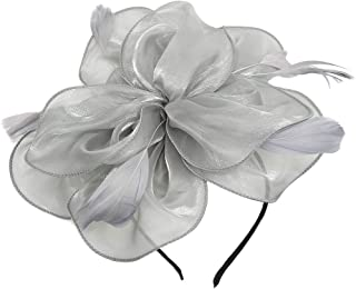 Fascinator Feather Organza Flower Cocktail Tea Party Hair Clip Derby Headband