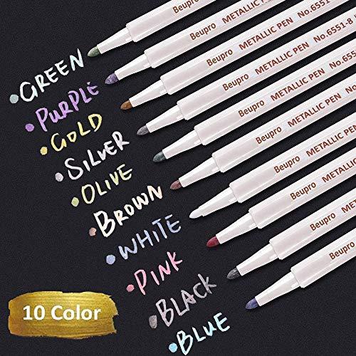 Metallic Marker Pens, Beupro 10 Farben Metallic Stifte Metallischen Marker für DIY Fotoalbum, Gästebuch, Hochzeit, Glas, Kunststoff, Stein, Holz - Feiner Spitze (1mm)