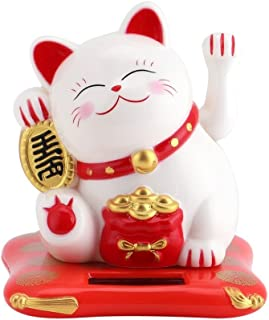 Bestgift Waving Cat Solar Powered Lucky Mini Happy Welcoming Cats with Swinging Arm (#2 White)