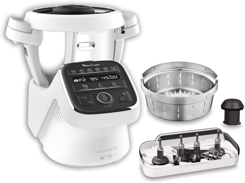 Moulinex Cuisine Companion XL HF80CB - Robot de cocina Bluetooth 12 programas y 6 accesorios capacidad 6 personas, incluye cuchilla picadora, batidor, mezclador, amasador, triturador y cesta de vapor