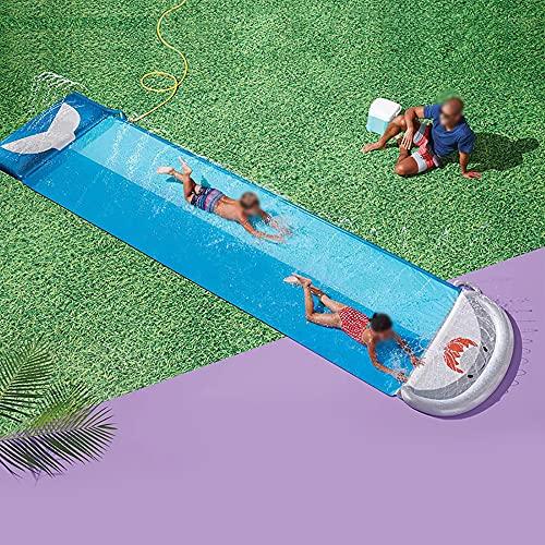 18FT X 4.7FT Toboganes De Agua De Césped para Niños Adultos - Jardín Patio Trasero Gigante Carreras Y Piscina De Salpicaduras, Juguetes De Agua Al Aire Libre