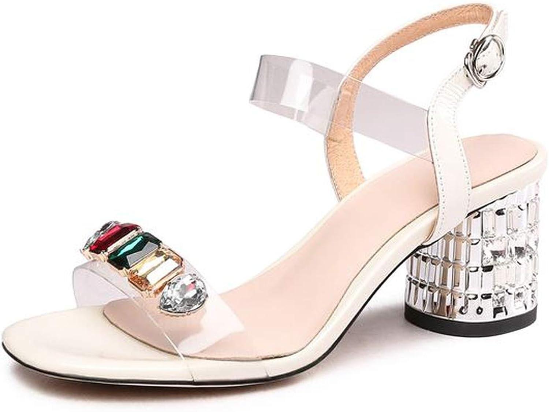 Genuine Leather Sandals Women Buckle Strap Rhinestone high Heels Summer Sandals Ladies shoes