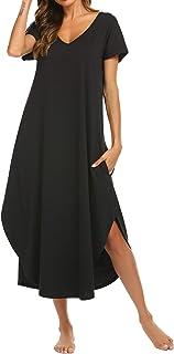 Nightgowns Womens V Neck Loungewear Short Sleeve Sleepwear Plus Size Night Wear S-XXL
