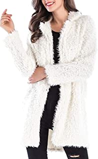 Macondoo Womens Casual Cardigan Fuzzy Open Front Lapel Outwear Jacket