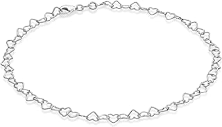Miabella Sterling Silver Italian Rolo Heart Link Chain Anklet Ankle Bracelet for Women Teen Girls 9, 10, 11 Inch Made in I...