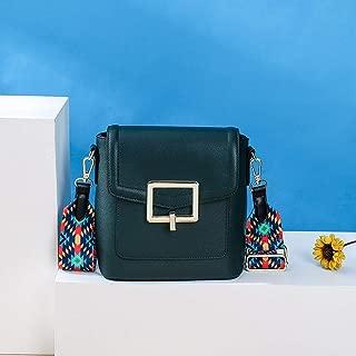 Portable Leather Shoulder Handbags, Spill-Resistant Bucket Messenger Bag, Leather Handbags Hijab 19.5CM * 10CM * 20CM (Color : Green)