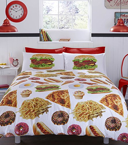 #bedding 'Fast Food Got The Munchies Duvet Cover Set, 52 Percent Polyester/48 Percent Cotton, Multi-Colour, King