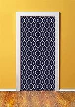 Geometric 3D Door Sticker Wall Decals Mural Wallpaper,Ornamental Nautical Themed Image with Marine Motifs Ropes Aquatic Elements Decorative,DIY Art Home Decor Poster Decoration 30.3x78.5451,Dark Blue