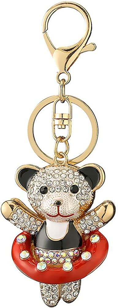 Cute Bear doll Rhinestone Keychains,Sparkling Animal Charm Keyrings Pendant