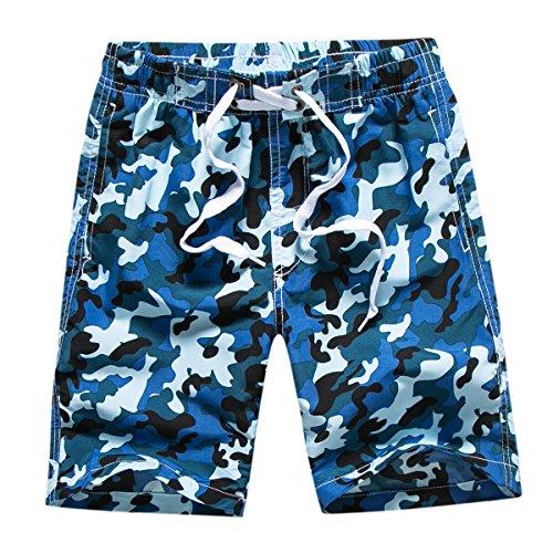 Echinodon Jungen Badehose Badeshorts Camouflage Sweatshorts Urlaub Strand-Shorts Blau L