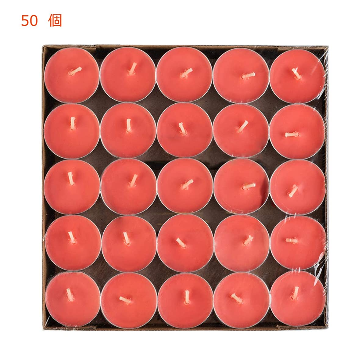 アレルギー性ブル会社Hwagui ティーライト キャンドル アロマキャンドル ろうそく おしゃれ 蝋燭 ロウソク ロマンチック 赤 50個 4時間